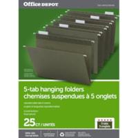 Dossiers suspendus à trois onglets Office Depot, vert standard, onglets 1/5, boîte de 25