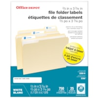 Office Depot® Permanent Inkjet/Laser File Folder Labels, White, 2/3