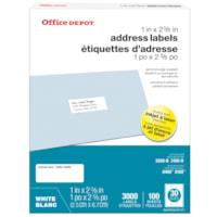 Office Depot® Address Labels, White, 1
