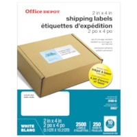 Office Depot Laser Shipping Labels, White, 2
