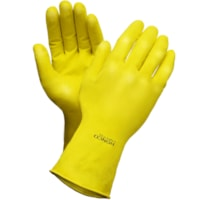 Ronco Light-Fit Latex Reusable Gloves, Flocked Lined, Medium, Yellow, 12/PK