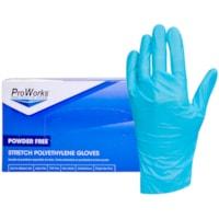 HOSPECO ProWorks Stretch Polyethylene Gloves, Powder-Free, Blue, Small, 200/BX