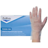 HOSPECO ProWorks® Stretch Polyethylene Disposable Gloves, Powder-Free, Clear, Large, Box of 200