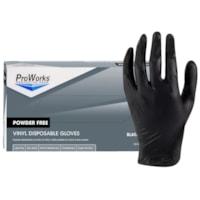 Gants jetables mélange de vinyle et nitrile ProWorks HOSPECO, sans poudre, noir, moyen, boîte de 100