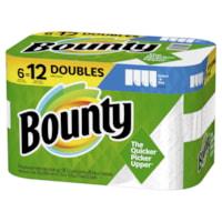 Bounty 2-Ply Select-A-Size Paper Towels 6=12, White, 98 Sheets/RL, 6/PK