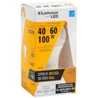 Luminus LED Lightbulb, A19, 4/8/14W, Non-Dimmable, Warm White, 6/PK