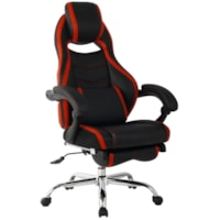 TygerClaw Executive High-Back Office Chairs, Black/Red, PU Leather