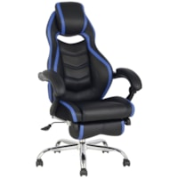 TygerClaw Executive High-Back Office Chairs, Black/Blue, PU Leather