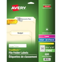 Avery® TrueBlock(R) File Folder Labels, Sure Feed(TM) Technology, Permanent Adhesive, Yellow, 2/3