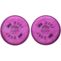 3M 2097 P100 Particulate Filter with Nuisance Level Organic Vapour Relief, Magenta, 2/PK