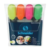 Schneider Job Highlighters, Assorted Neon Colours, 4/PK