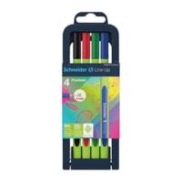 Schneider Line-Up Fineliner Felt-Tip Pens, Assorted Colours, 4/PK