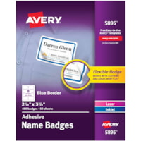 Avery® Flexible Name Tag Stickers, White Rectangle Label with Blue Border, Removable Name Badges, 2-1/3