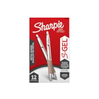 Sharpie S-Gel baril en métal, noir, pointe moyenne (0,7 mm), emb. de 12
