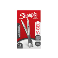 Sharpie S-Gel Pens with Gunmetal Barrel, Black, Medium 0.7 mm, 12/BX
