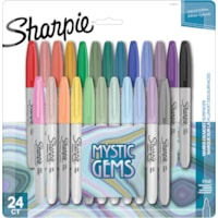 Sharpie Mystic Gems Permanent Markers, Assorted Colours, Fine Tip, 24/PK