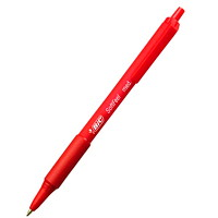BIC Soft Feel Ballpoint Retractable Pens, Red, Medium 1.0 mm, 12/BX