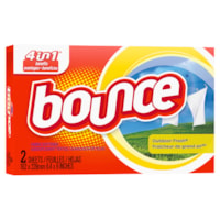 Bounce 4-in-1 Fabric Softener Dryer Sheets, Outdoor Fresh Scent, 2 Sheets/BX, 156 Boxes/CS