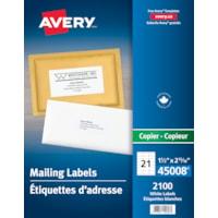Avery Address Labels, White, 1 1/2