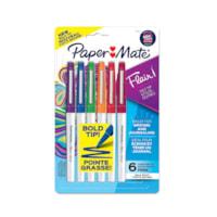 Stylos Paper Mate Flair, couleurs assorties, pointe gras, 1,2 mm, emb. de 6