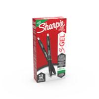 Sharpie S-Gel stylos gel, vert, pointe moyenne 0,7 mm, boîte de 12
