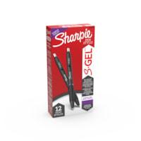 Sharpie S-Gel stylos gel, pourpre, pointe moyenne 0,7 mm, boîte de 12