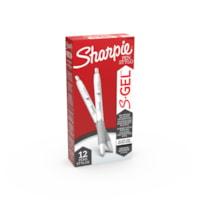 Sharpie S-Gel stylos gel, noir, pointe moyenne 0,7 mm, boîte de 12