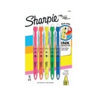 Stylos surligneurs à encre liquide Sharpie, couleurs fluorescentes variées, pointe biseautée étroite, emb. de 5