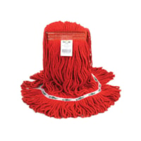 Globe Commercial Products Synthetic Wet Mop With Narrow Band And Looped End, Red, 20 oz
