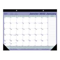Sous-main calendrier mural mensuel Blueline, 21 1/4 po x 16 po, 12 mois (janvier à décembre), bilingue