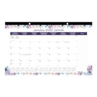 Sous-main calendrier mensuel à motifs fleurs de la passion Blueline, 17 3/4 po x 10 7/8 po, janvier à décembre, bilingue