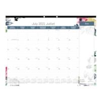 Blueline 18-Month Academic Colourful Monthly Desk Pad, Watercolour Design, 22