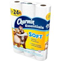 Papier hygiénique blanc à 2 épaisseurs Essentials Soft Charmin 12=24, rouleau de 176 feuilles, emb. de 12 rouleaux doubles