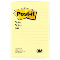 Post-it® 660 Notes, Canary Yellow, Lined, 4