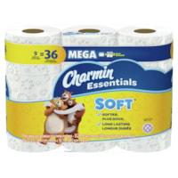 Papier hygiénique à deux épaisseurs Charmin Essentials Soft, blanc, 352feuilles par rouleau, emb. de 9rouleaux méga