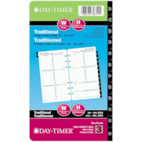 Day-Timer 12-Month Portable-Size Weekly 2 Pages Per Week Loose-Leaf Planner Refill, 6 3/4