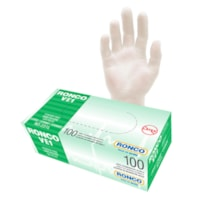 RONCO VE1 Vinyl Examination Gloves, Large, Clear, Box of 100