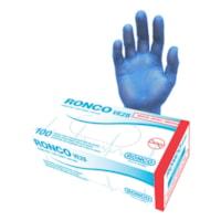Ronco VE2B Vinyl Examination Gloves, Medium, Blue, Box of 100