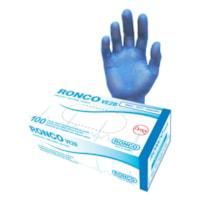 Ronco VE2B Powder-Free Vinyl Examination Gloves, Small, Blue, Box of 100
