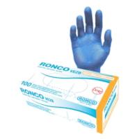 Ronco VE2B Powder-Free Vinyl Examination Gloves, Blue, XL, Box of 100