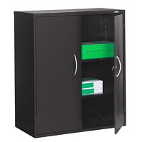 Grand & Toy 2-Shelf Steel Storage Cabinet, Black, 36