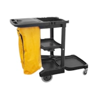 Globe Commercial Products Premium Janitor/Cleaning Cart with Lid, Black
