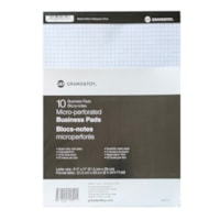 Grand & Toy Micro-Perforated Letter-Size Business Pads, White with Quad Rule (4 sq), 8 1/2