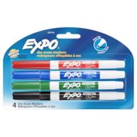 Marqueur effaçable à sec Expo à faible odeur, pointe fine, couleurs variées, emb. de 4