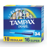 Tampax Pearl Tampons, Duopack, Unscented, Box of 34 Tampons