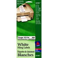 Mini-feuilles d'étiquettes de classement permanentes blanches Avery