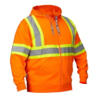 Forcefield Deluxe Orange Hi Vis Safety Hoodie with Attached Hood, Medium
