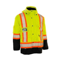 Forcefield 4-in-1 Hi Vis Yellow Safety Parka, Large