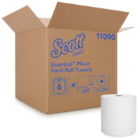 Scott 1-Ply Essential Plus+ Hard Roll Hand Paper Towels, White, 600', Carton of 6
