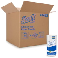Scott 1-Ply Absorbent Kitchen Towels, White, Roll of 128 Sheets, Carton of 20 Rolls